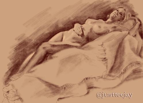 figure study reclining model female