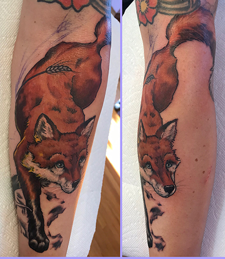 fox tattoo in progress by TeeJay