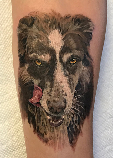 dog portrait tattoo by TeeJay